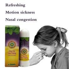 Тайские травяные контейнеры для носовых ингаляторов, палочка для мяты, цилиндрическая нить для астмы, носа, заторы, головная боль, Освежающая ароматическая палочка, ингалятор