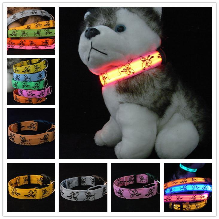 Pluto Nylon LED Dog Collar Glow Pet Necklace Dog Collar Flashing Lighting Up High Quality Dark Safety Collar THC13(China (Mainland))