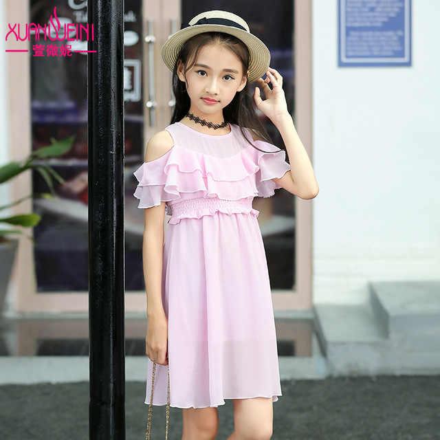 c4b02cd370da ... Vestido de verano de chifón para niñas vestidos de playa con hombros  descubiertos ropa de moda ...
