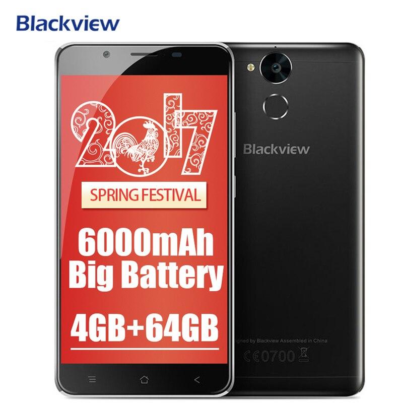 6000 mAh D'origine Blackview P2 4G Mobile Téléphone Android 6.0 5.5 FHD MTK6750T Octa Core 4 GB RAM 64 GB ROM 13MP 9V2A Rapide Charge