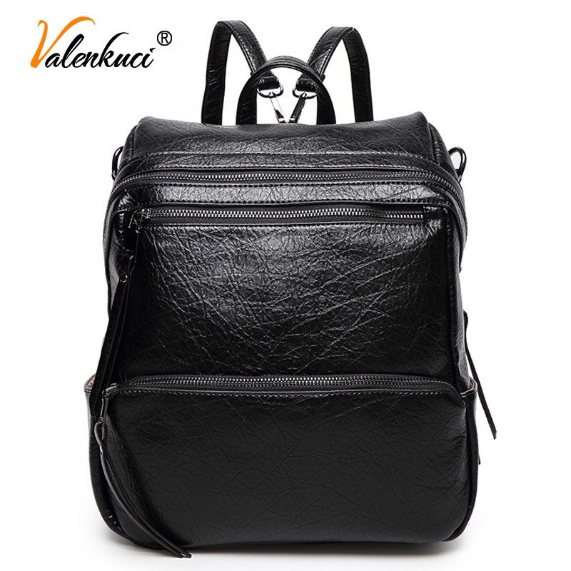 ФОТО Valenkuci Brand Fashion Women Backpack For Women School Bags For Teenagers Bagpack Women Leather Backpack Mochila 2017 BD-132