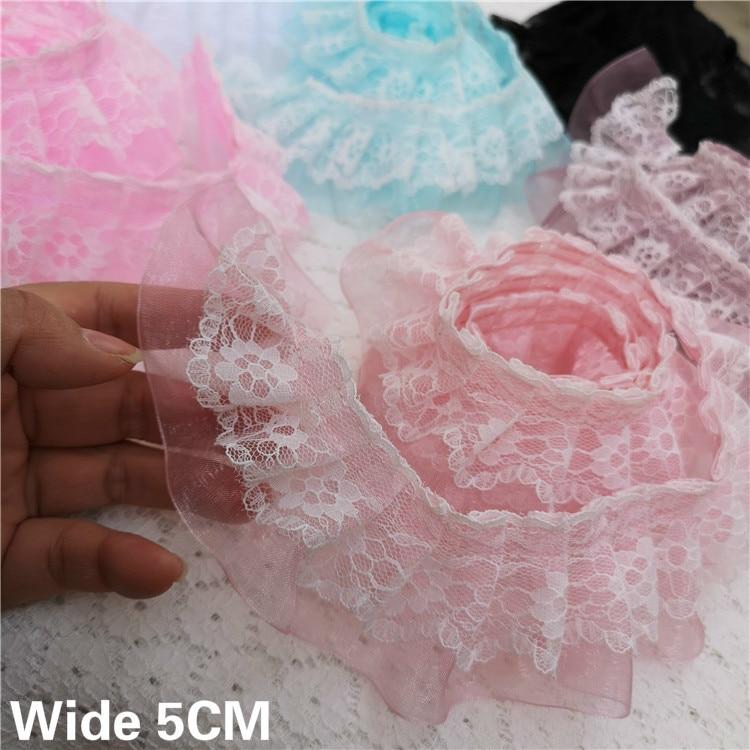 Organza Rosa Artesanías Costura Plisada De Encaje De Corte X 1 yarda