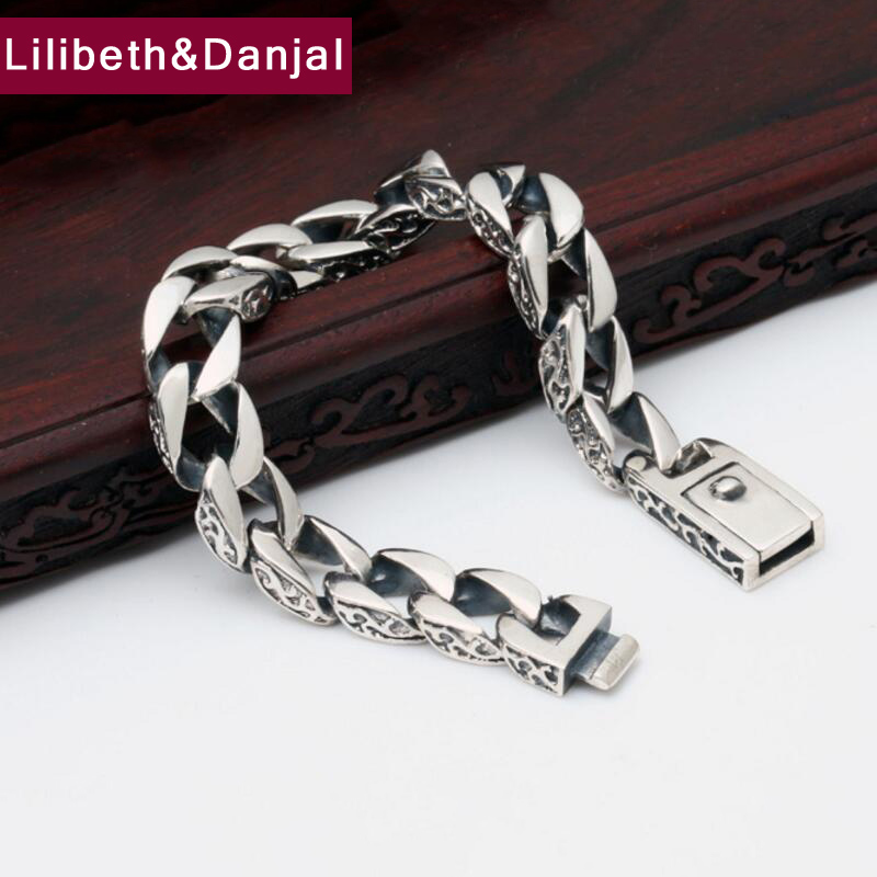 Bands 100% Real 925 Sterling Silver Simple Men Friendship Charm Bracelet Bangle Handmade Thailand Silver Jewelry B1