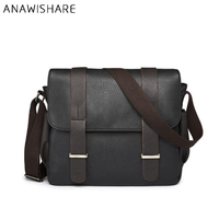 ANAWISHARE Men Messenger Bags Large Leather Crossbody Bags For Men School Shoulder Bag Laptop Bag Leather Handbag Bolsa Feminina