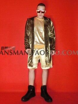 Nightclub Fashion Male DJ singer Gold long hip-hop Long Cloak Costumes suit party show stage dance wear