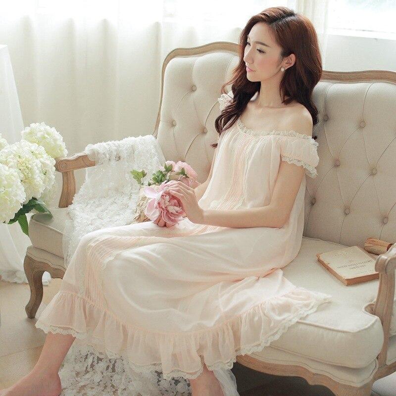 75a327b563 Summer Palace Retro Princess Nightdress Nightgown Soft Lace Long Sling  Nightgown