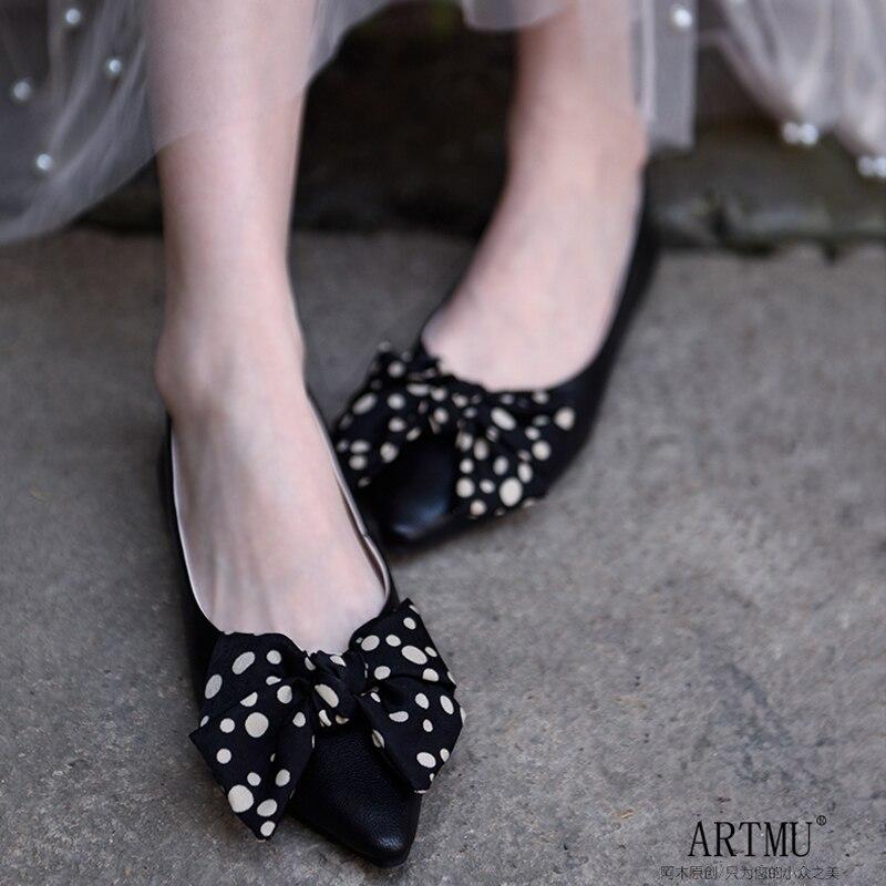 Artmu オリジナルフラットシングル靴ローファー女性ドレスシューズ弓モカシンシューズポインテッドトゥポルカドットファッション本革  グループ上の 靴 からの レディースフラット の中 1