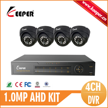 KEEPER 1080N 720P 4CH DVR 4PCS Indoor Dome 1.0MP HD Digicam House Surveillance Safety System Package E-mail Alarm Movement Detection