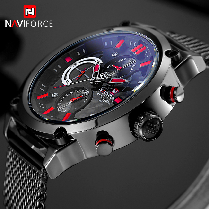 NAVIFORCE Brand Black Fashion Mesh Steel Mens Quartz Watch 24 Hour Date Clock Male Sport Military Wristwatches Relogio Masculino