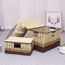 Straw storage box desktop rattan book collection with lid underwear snack woven basket