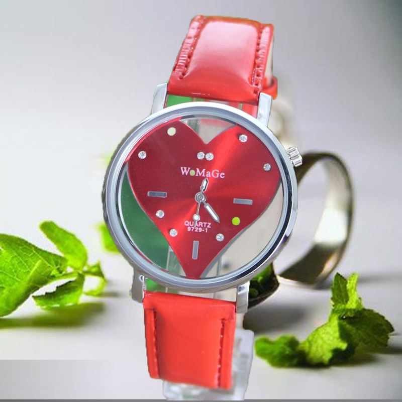 WoMaGe Brand Women Watches Fashion Watch Horse Dial Retro Watches Ladies Watch Wristwatches Leather Red Clock saat reloj mujer