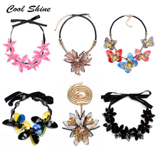 2016 New Za Vintage Acrylic Flower Necklace Long Silk Statement Maxi Choker Collar Necklaces & Pendants Women Love Accessories