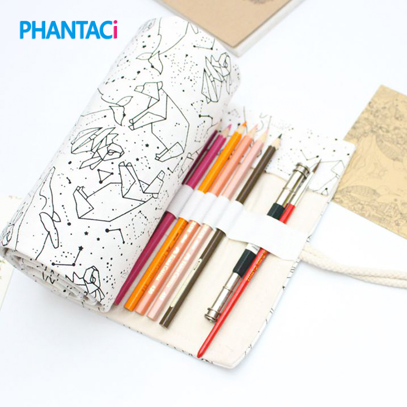 PHANTACI 36/48/72 Holes Big Capacity Pencil Case School Canvas Roll Pouch Colored Pencils Box Constellation Sketch Brush Pen Bag big capacity high quality canvas shark double layers pen pencil holder makeup case bag for school student with combination coded lock