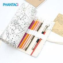PHANTACI 36/48/72 Holes Big Capacity Pencil Case School Canvas Roll Pouch Colored Pencils Box Constellation Sketch Brush Pen Bag