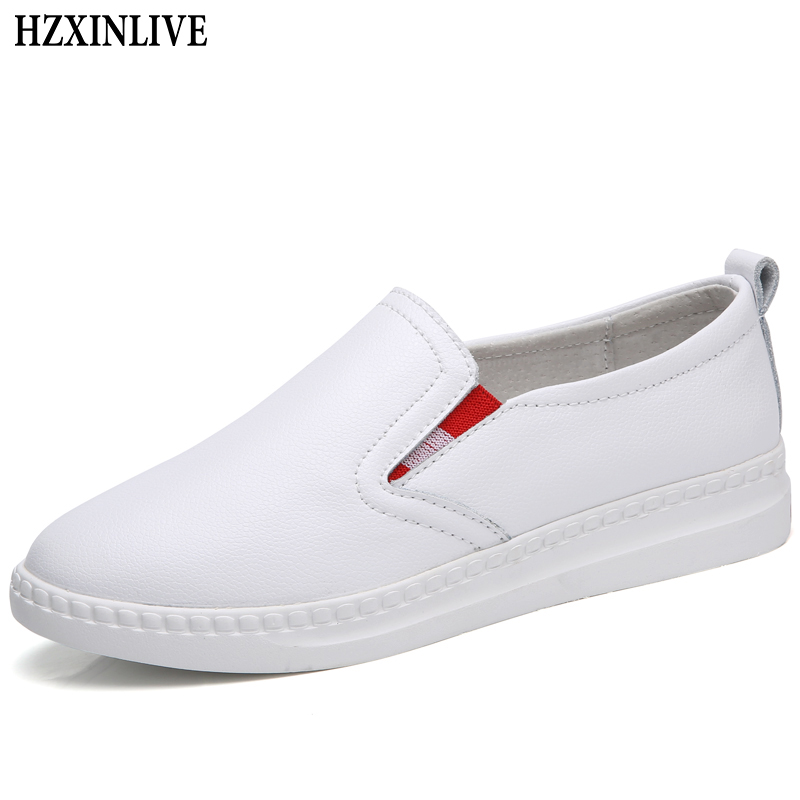 HZXINLIVE 2018 Summer Flat Shoes Women White Leather Shoes Women Loafers Ladies Casual Platform Female Fashion Zapatos Mujer fashion loafers women flat platform shoes moccasins air mesh round toe ladies footwear women summer casual shoes female dc64