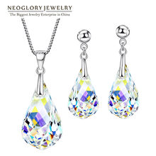 Neoglory Jewelry Sets Transparent Necklaces & Earrings Wedding For Women 2019 New Gifts Embellished with Crystals from Swarovski(China)