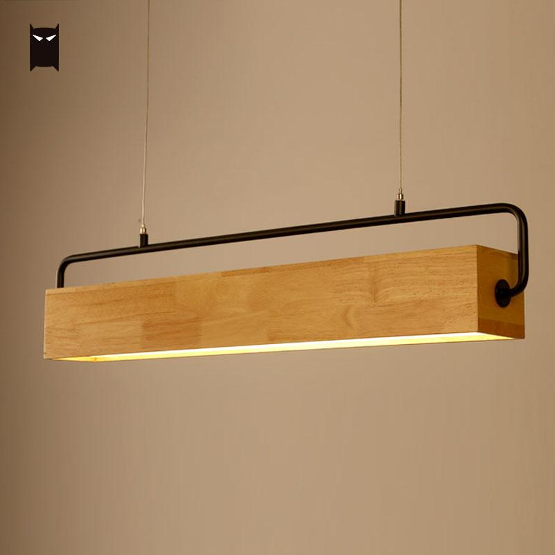 78/90cm Square Bar Wood LED Pendant Light Wire Fixture Modern Nordic Scandinavian Hanging Lamp for Dining Table Room Office zx modern aluminum led chip pendant lamp engineering hanging wire strip light fixture for office conference room study lamp