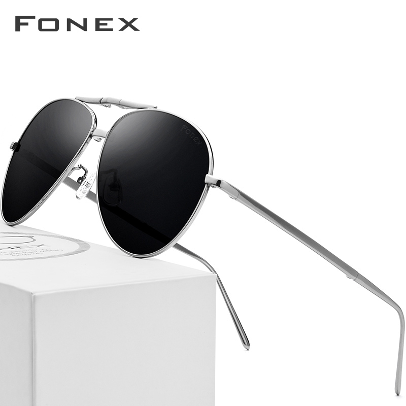 Titane pur lunettes de soleil polarisées hommes pliage classique Aviation lunettes de soleil pour hommes 2018 nouveau Aviador haute qualité mâle nuances - 2