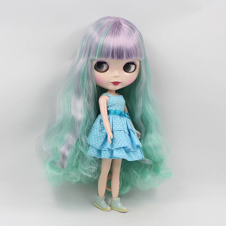 Beaukiss 12 inch Nude Blyth B female Doll BJD 1/6  Cute Big Eyes Doll With Blue Purple Double Bangs Doll Girls Gifts