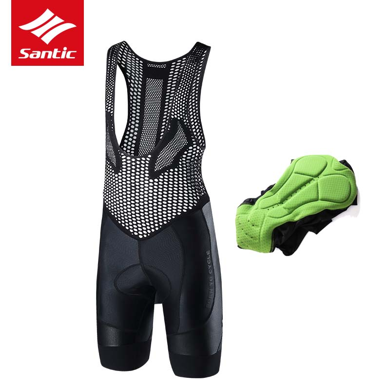 все цены на Santic Cycling Bib Shorts 2018 Men Summer Pro Gel Padded MTB Road Racing Downhill Bicycle Bike Tights Bib Shorts Ropa Ciclismo онлайн