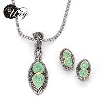 UNY Recién Mujeres cristal plateado del Oro Antiguo único elegante Colgante de dos colores Collar Pendientes Hardy Joyería fija El Envío Libre