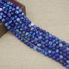 Граненые круглые бусины из синего огненного агата натурального