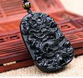 Linda 55x42mm Chinês Handwork Natural Preto Obsidian Esculpido Dragão Amuleto Sorte pingente + contas de colar de Jóias de Moda