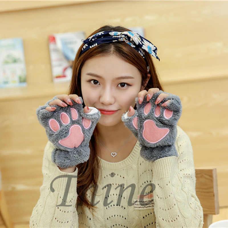 Новое поступление 2015 женщин зимы лапы перчатки без пальцев пушистый медведь кошка плюшевые подушечки новинка хэллоуин мягкой махровой ткани половина Covere перчатки перчатки перчатки женские варежки перчатки мужские