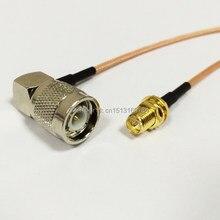 Câble de Connexion Modem RG316, Jack femelle RP-SMA à fiche mâle TNC, connecteur à Angle droit, adaptateur RF Pigtail 15CM 6