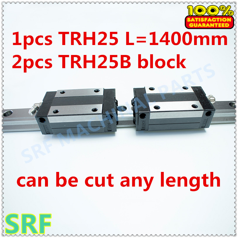 Hig quality Linear Guide 1pcs TRH25 Length=1400mm Linear guide rail+2pcs TRH25B linear slide block for CNC part thk interchangeable linear guide 1pc trh25 l 900mm linear rail 2pcs trh25b linear carriage blocks
