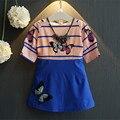 Moda Vestido de Niño de 2016 Niños Coreanos Ropa Mariposa Imprimir Costura Verano de Las Muchachas Vestido de Princesa Partido de Los Cabritos Del Vestido 2-7Y
