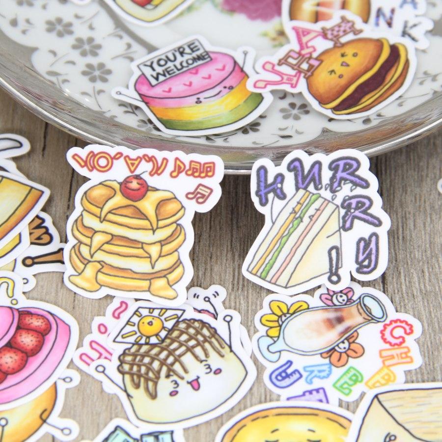 40pcs Yummy Food Scrapbooking Stickers Bread Cake Dessert DIY Decorativ  Craft DIY Sticker Pack Diary Deco