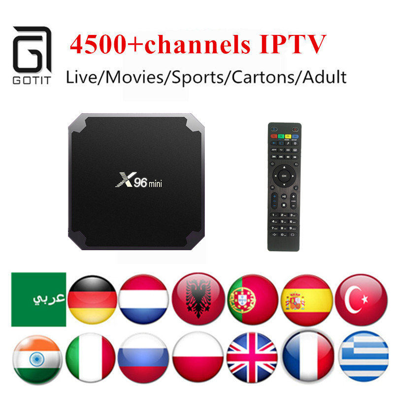 India Pakistan IPTV X96MINI Android TV Box with Power IPTV 4500+Iran Italy Albanian Turkish Latino XXX PayTV Smart Set Top Box branding pakistan