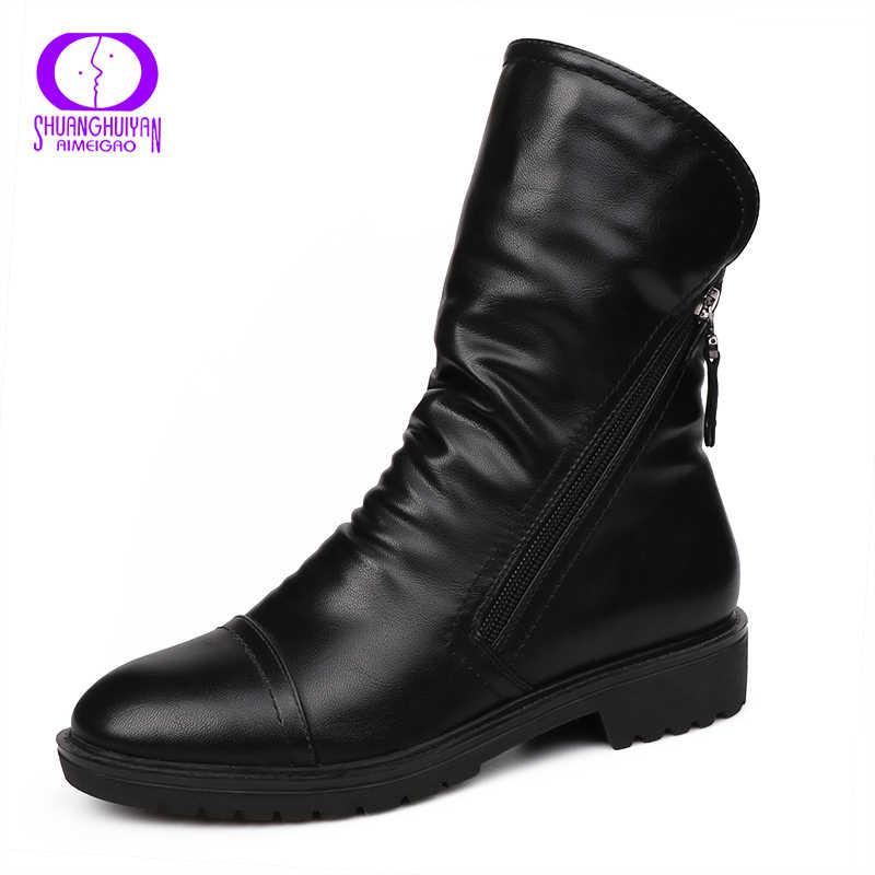 AIMEIGAO 2017 Kadın Moda Bağbozumu Ayak Bileği Çizmeler Yumuşak Deri Ayakkabı Kadın Bahar Sonbahar Ayak Bileği Çizmeler Rahat Kadın Ayakkabı