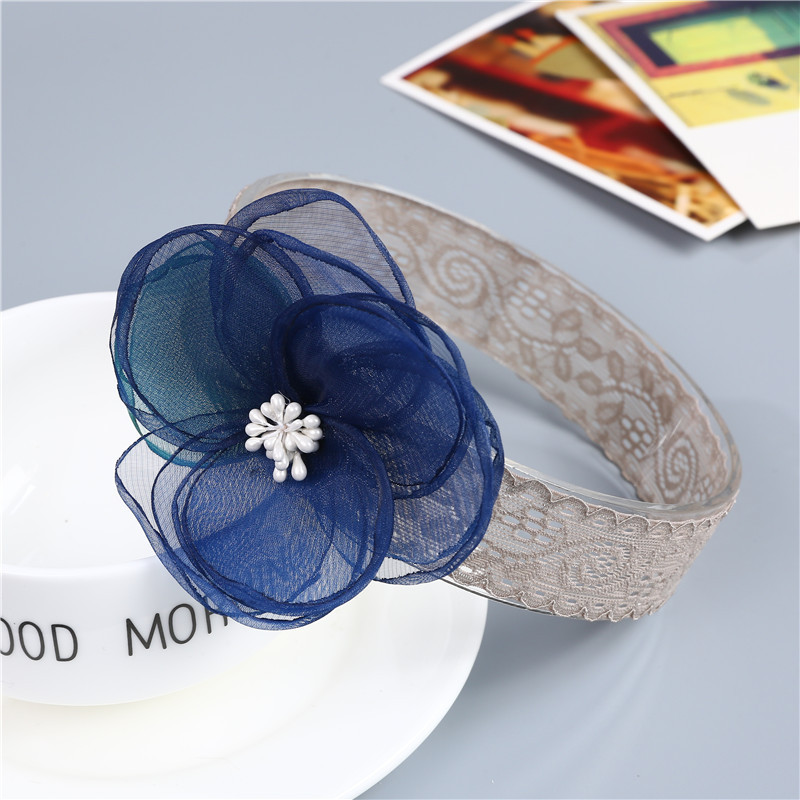 DALI 2PCS Baby Lace Flower Headband Red Pink Blue Flower Hair Bands For Girls Toddler Headwear Lace Infant Baby Hair Accessories