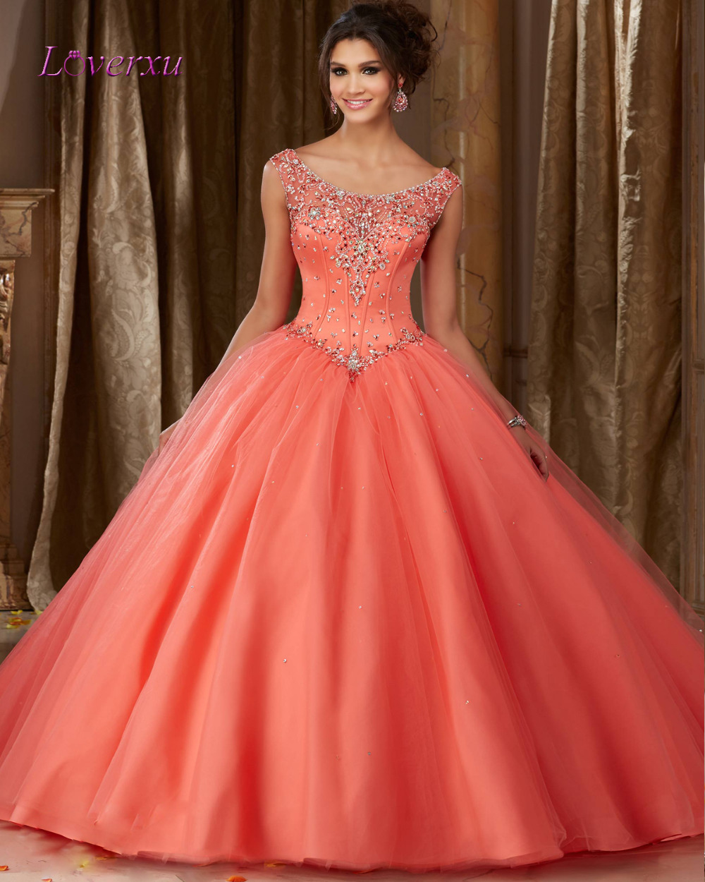 Buy Loverxu Sexy Scoop Neck Sequined Ball Gown Quinceanera