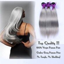 Cheap Brazilian Virgin Gray Hair Straight Human Hair Extensions 3 Bundle Lot 100g/3.5Oz/pc Hair Weaves Ombre Hair Weave 1b/ Grey