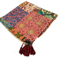 2016 Vintage Japanese Style Scarves for Women Twilly Cotton Totem Patchwork Scarf Bandana Ladies Handmade Tassel Sarong Pareo