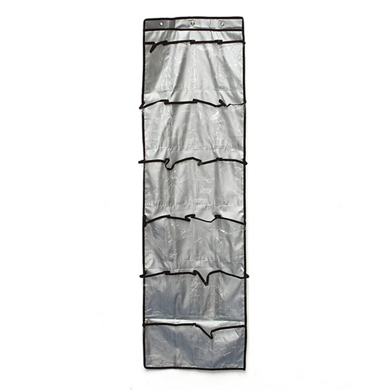 Fabric 22 Pocket 6 Layers With 3 Hooks Clear Over Door Hanging Storage Shoes Clothes Bags Organizer Rack BS