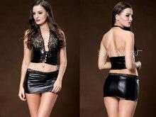 Sexy black lace halter mini dress