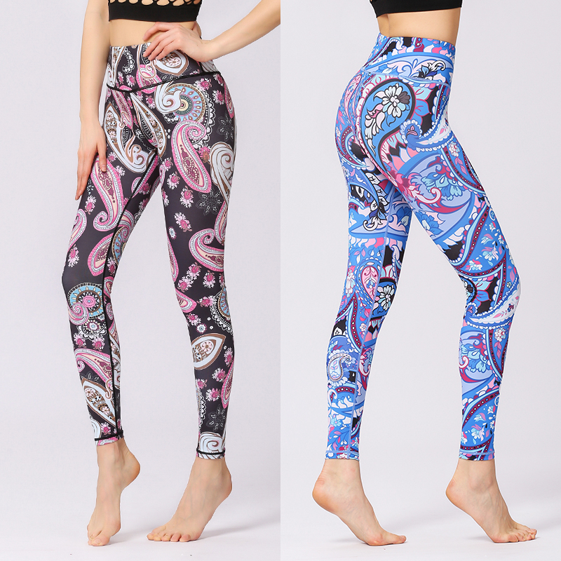 Fashion Flower Printed Workout Leggings Women High Waist High Quality Leggings Elastic Skinny Nine points Fitness Leggings