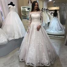 Винтажное свадебное платье для женщин сетчатые Длинные рукава Кружева Аппликация с буфами бальное свадебное платье Vestido De Noiva