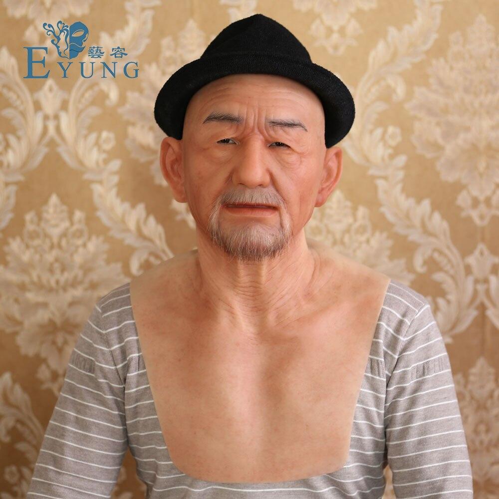 Eyung velho william de boa qualidade máscaras de silicone realistas, homem velho masquerade para abril dia dos tolos cabeça cheia complicado adereços