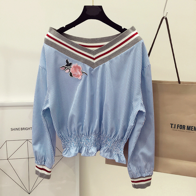 Women Rose Floral Patch Embroidery Stripe Blouse Shirts Stylenanda Vintage Spring Summer Long Sleeve V Neck Waisted Fashion Tops
