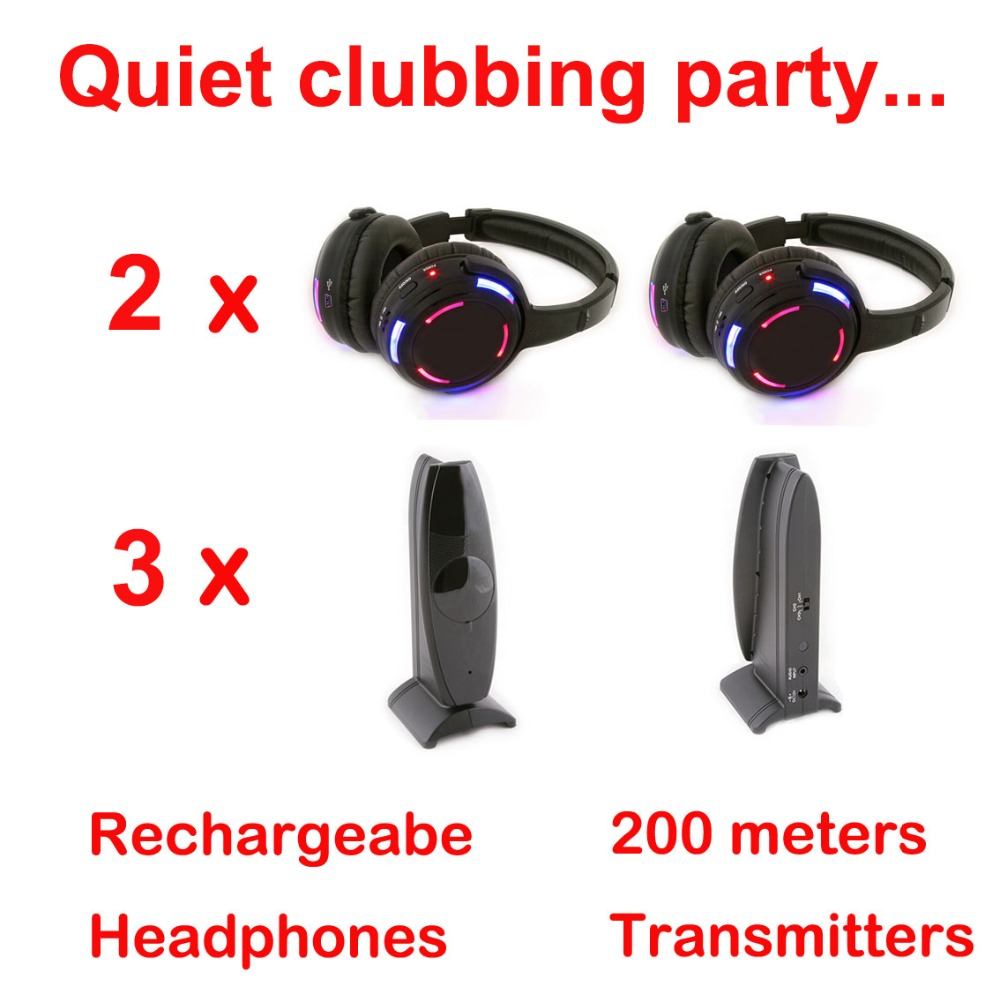 Silent Disco compete system black led wireless headphones – Quiet Clubbing Party Bundle (2 Headphones + 3 Transmitters)