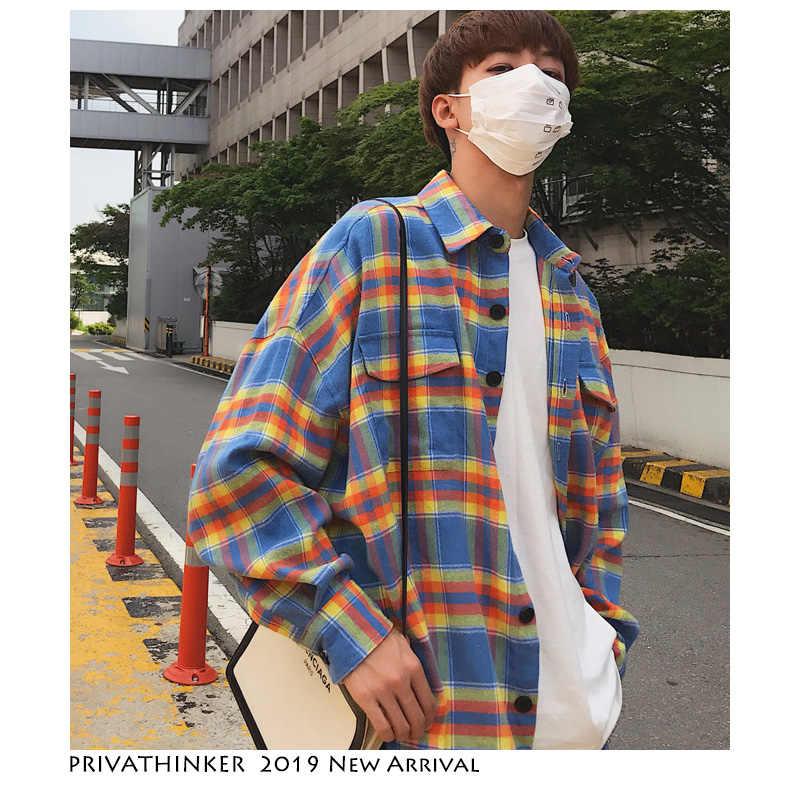 a44dd395 Privathinker Men Flannel Oversized Plaid Shirts Long Sleeve 2019 Mens  Harajuku Streetwear Casual Shirt Couple Korean