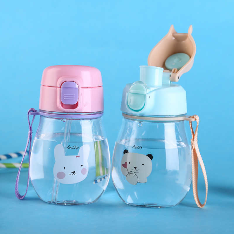 350ml Sippy Cup Plastic BPA Free Children's Cup Drinker With a Straw Cup Baby Water Bottle Learning Drinking Bottles