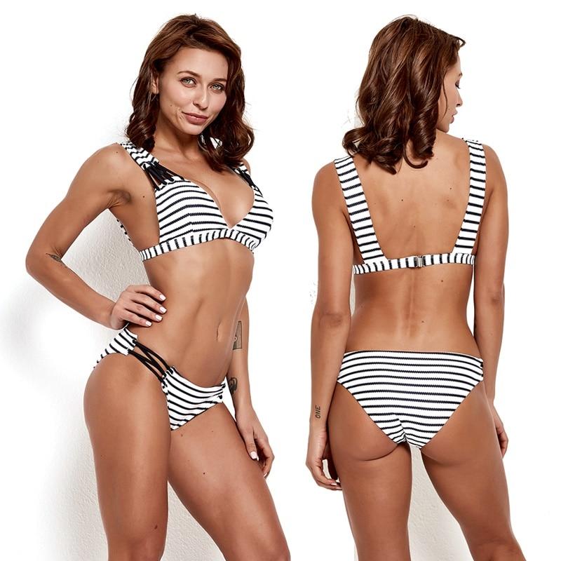 Fashion Striped Bikini Swimwear Women 2019 Sexy Lady Wire Free Padded Bra Swimsuit Beach Suit Maillot De Bain Femme in Bikinis Set from Sports Entertainment