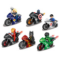 6pcs Marvel Super Hero Captain America Spider Man Batman Ghost Rider Motorcycle   Building Blocks Bricks Kid Baby toys