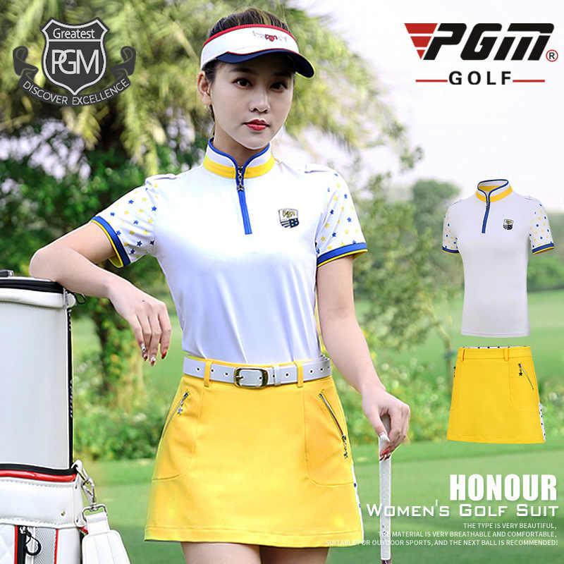 PGM платье для гольфа, женская футболка с короткими рукавами + юбка на молнии, Женская дышащая удобная спортивная одежда, размер xs-xl D0735